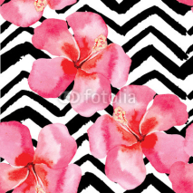 Naklejki tropical hibiscus watercolor pattern, black and white background