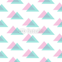 Fototapety Cute modern pink and mint green triangle seamless pattern background.