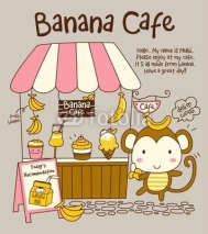 Fototapety Vector Cute Monkey and Banana Cafe