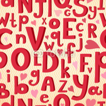 Obrazy i plakaty Vector seamless pattern with Latin letters of different sizes in
