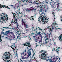 Naklejki Watercolor seamless pattern with beautiful flowers. Spring and summer motifs. Can be used for wrapping paper and any your design.