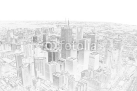 Naklejki pencil drawing of a toronto city skyline