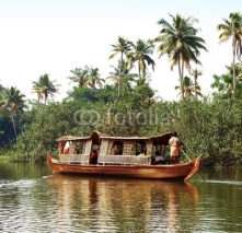 Naklejki Houseboat tour through the backwaters of Kerala, India
