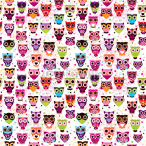 Fototapety Seamless colourfull owl pattern for kids in vector
