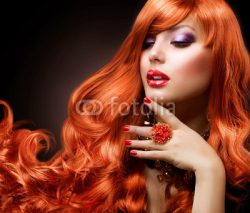 Obrazy i plakaty Wavy Red Hair. Fashion Girl Portrait