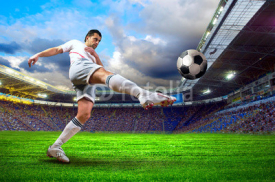 Fototapety Football player on field of stadium