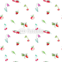 Fototapety Seamless pattern with garden fruits and berries.Cherry, raspberry, currant, strawberry, apple and flower. Watercolor hand drawn illustration.White background.