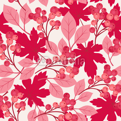 Autumn/fall maple leaves and berries seamless pattern
