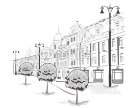 Naklejki Series of streets in the city in sketches
