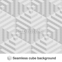 Naklejki Vector squared monochrome pattern. Seamless geometric texture in grey color. Black and white stylish tiles. 3d abstract dynamic background created of cubes.