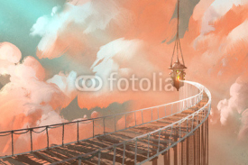 Fototapety rope bridge leading to the hanging lantern in a clouds,illustration painting