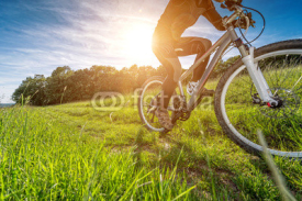Obrazy i plakaty Sport bike, cycling in the beautiful meadow, detail photo,