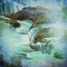 Fototapety Grunge Waterfall Background