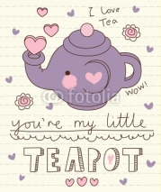Naklejki vector cute little teapot