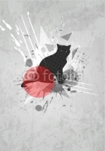 Fototapety Abstract vector background. Mod art poster. Cat