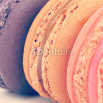 Fototapety Sweet and colourful french macarons retro-vintage style