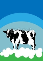 Fototapety Cow background nature animal farm card poster