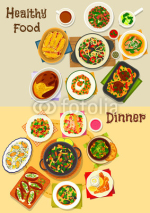 Dinner menu icon set for food theme design