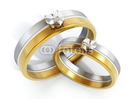 Obrazy i plakaty Wedding rings attached together. 3D illustration