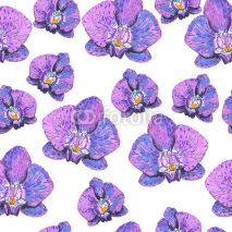 Naklejki seamless texture with pink orchids painted markers