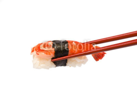 Naklejki Sushi with Shrimp is held by Chopsticks isolated on white