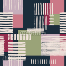 Fototapety Striped geometric seamless pattern. Hand drawn uneven stripes on colorful rectangles, free layout. Pink and green tones on navy blue background. Textile design.