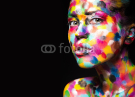 Naklejki Girl with colored face painted. Art beauty image.