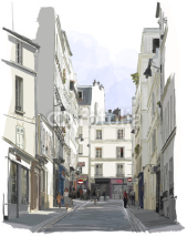 Fototapety street near Montmartre in Paris
