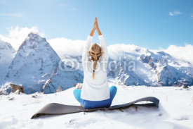 Fototapety Yoga on mountain in winter