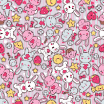Obrazy i plakaty Seamless kawaii child pattern with cute doodles.