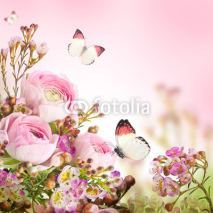 Fototapety Gentle bouquet from pink roses and butterfly