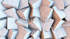 Obrazy i plakaty Light stone cubes mixed together. Abstract background. 3D rendering.