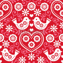 Fototapety Folk art red seamless pattern with flowers and birds