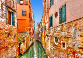 Naklejki View of a beautiful canal in Venice Italy. HDR processed