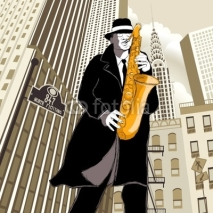 Fototapety saxophone player in a street