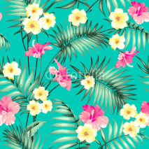 Obrazy i plakaty Tropical design for fabric swatch. Topical palm leaves and beautiful plumeria flowers on seamless patten over green background. Vector illustration.