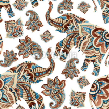 Fototapety Watercolor ethnic elephant with paisley elements background.
