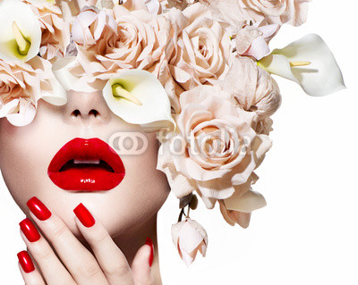 Fashion sexy woman. Vogue style model girl face with roses