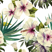 Naklejki Watercolor hibiscus patterns