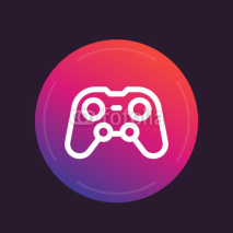 Obrazy i plakaty gamepad line icon, video gaming symbol, console games
