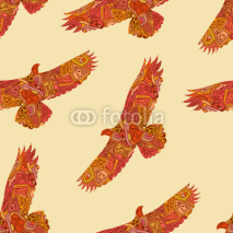 Fototapety Seamless decorative tribal pattern with eagles. Vector illustrat