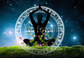 Fototapety Yoga posture and meditation under night sky