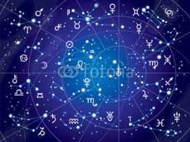 Obrazy i plakaty XII Constellations of Zodiac and Its Planets the Sovereigns. Astrological Celestial Chart. (Ultraviolet Blueprint version).