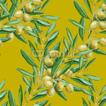 Fototapety Background olive branch. seamless pattern. watercolor illustrati