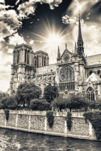 Naklejki Wonderful sky on Notre Dame Cathedral, Paris