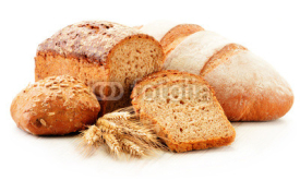 Fototapety Composition with baking products isolated on white