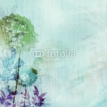 Naklejki grunge background with dandelions