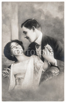Fototapety young romantic couple in love. antique sepia picture