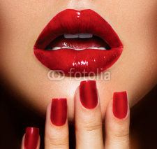 Fototapety Red Sexy Lips and Nails closeup. Manicure and Makeup