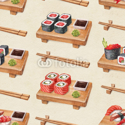 Delicious sushi. Watercolor seamless pattern